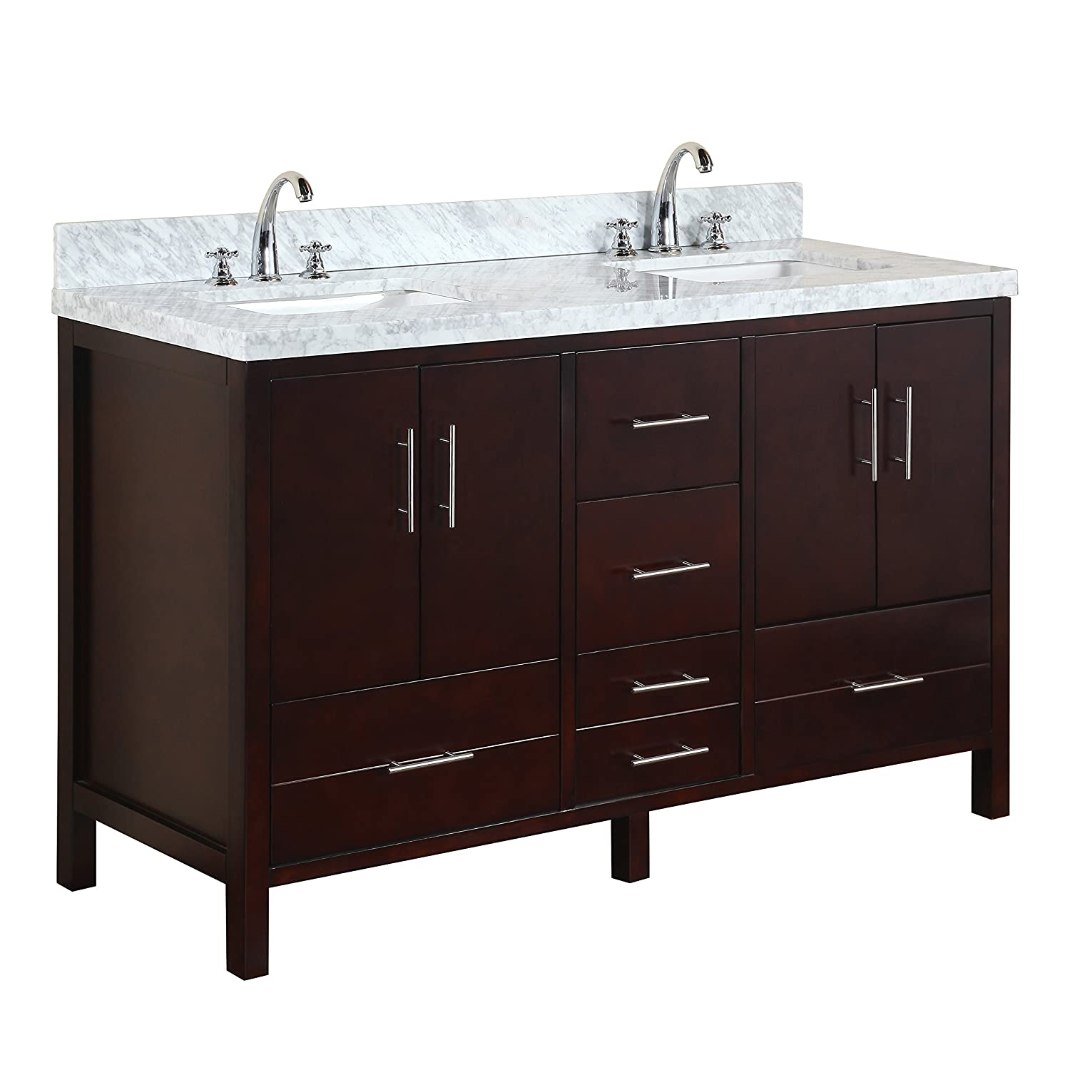 California 60-inch Double Bathroom Vanity Carrara Chocolate Includes Modern Chocolate Cabinet with Soft Close Drawers, Authentic Italian Carrara Marble Top, and Double Rectangular Ceramic Sinks
