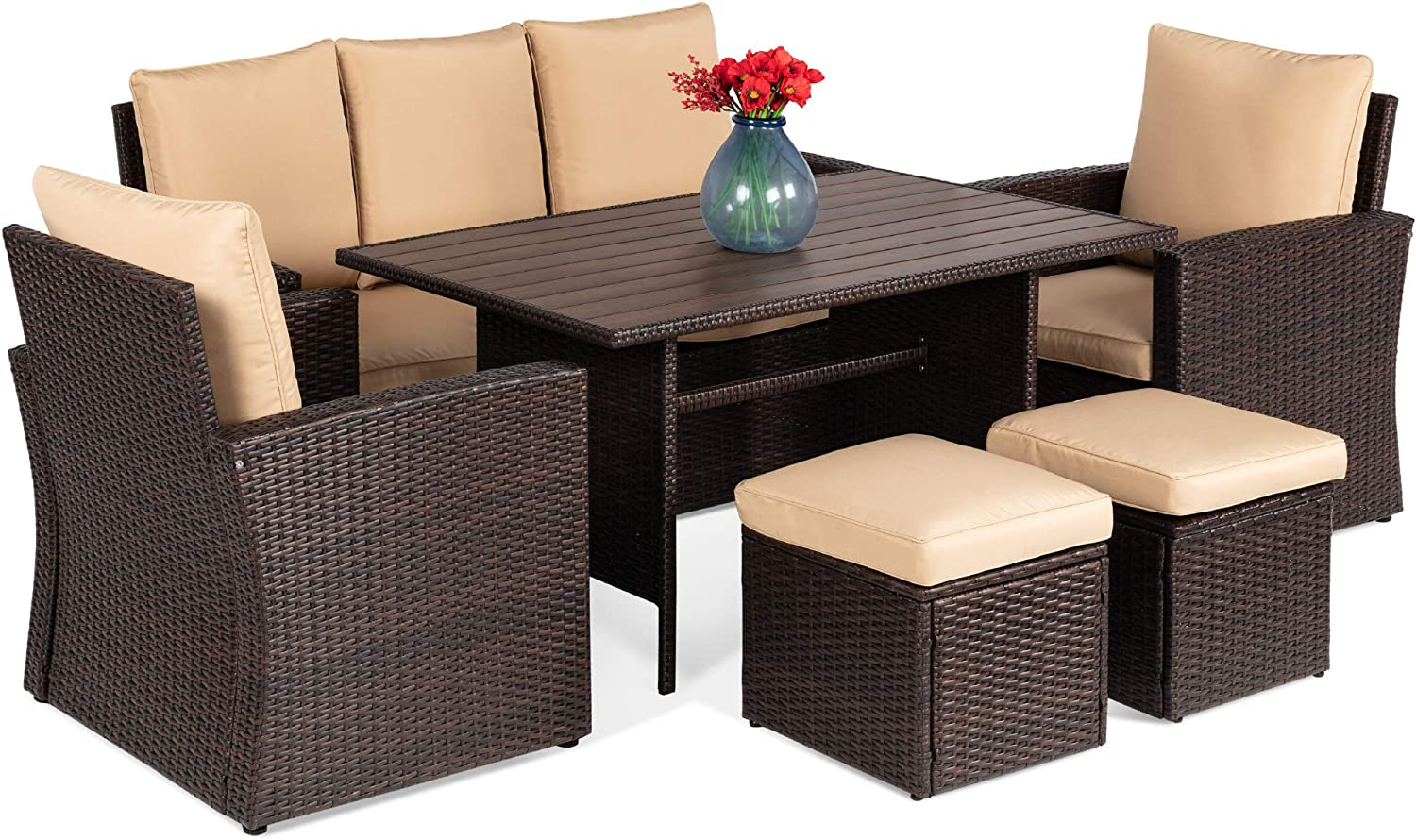 Best Choice Products 7-Seater Conversational Wicker Sofa Dining Table, Outdoor Patio Furniture Set w/Modular 6 Pieces, Cushions, Protective Cover Included - Brown/Beige