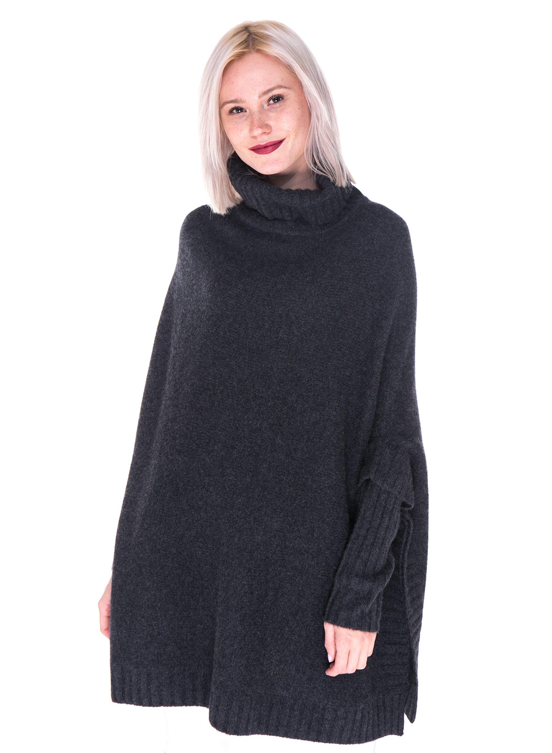 LEBAC Women's 100% Cashmere Turtleneck Oversized Poncho Sweater by LEBAC