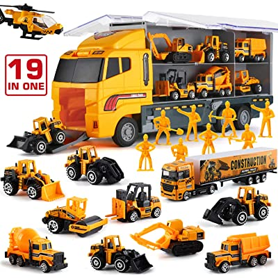 19 in 1 Construction Truck with Engineering Worker Toy Set, Mini Die-Cast Engine Car in Carrier Truck, Double Side Transport Vehicle Play for Child Kid Boy Girl Birthday Christmas Party Favors: Toys & Games