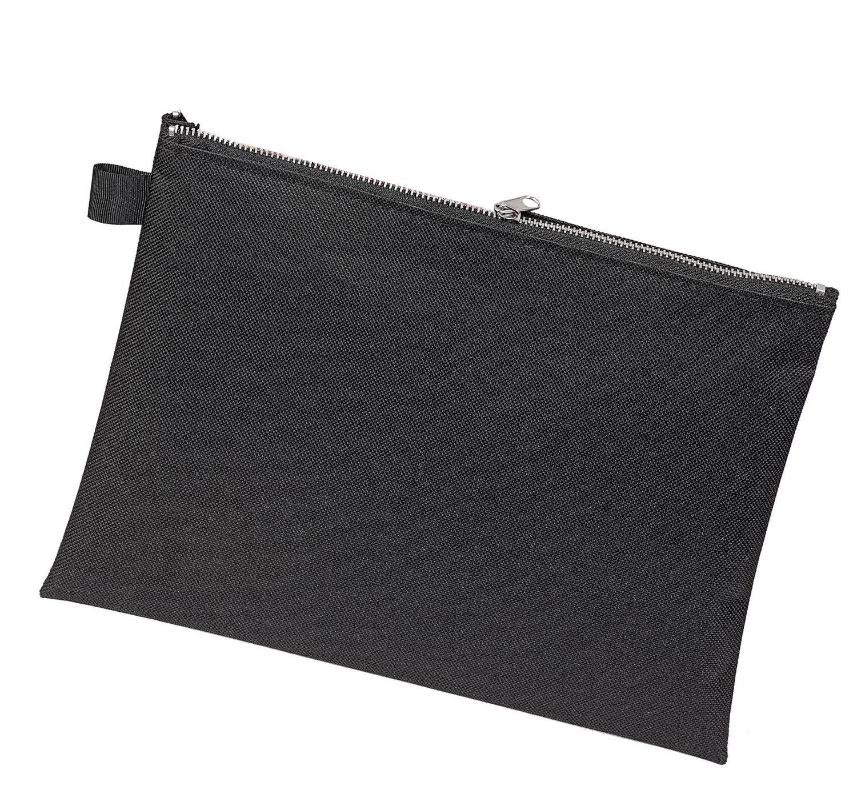 Transporttasche Geldtasche schwarz Veloflex 2725000 Banktasche A5 robustes Textil Metallrei/ßverschluss