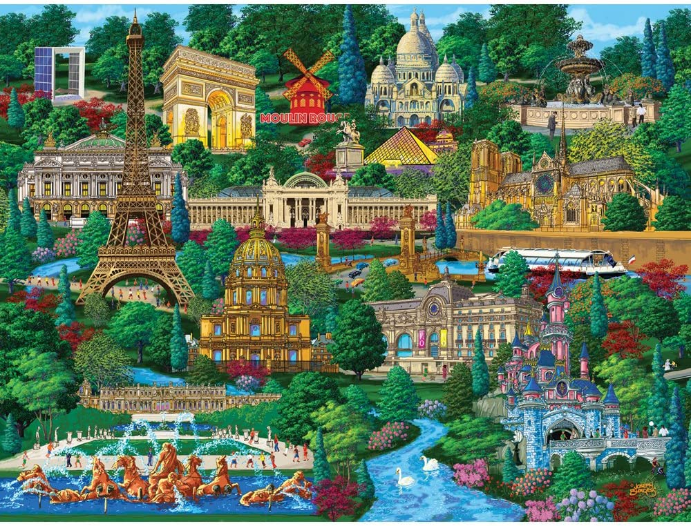 Bits and Pieces - 1000 Piece Jigsaw Puzzle for Adults - Paris City View - 1000 pc France Jigsaw by Artist Joseph Burgess