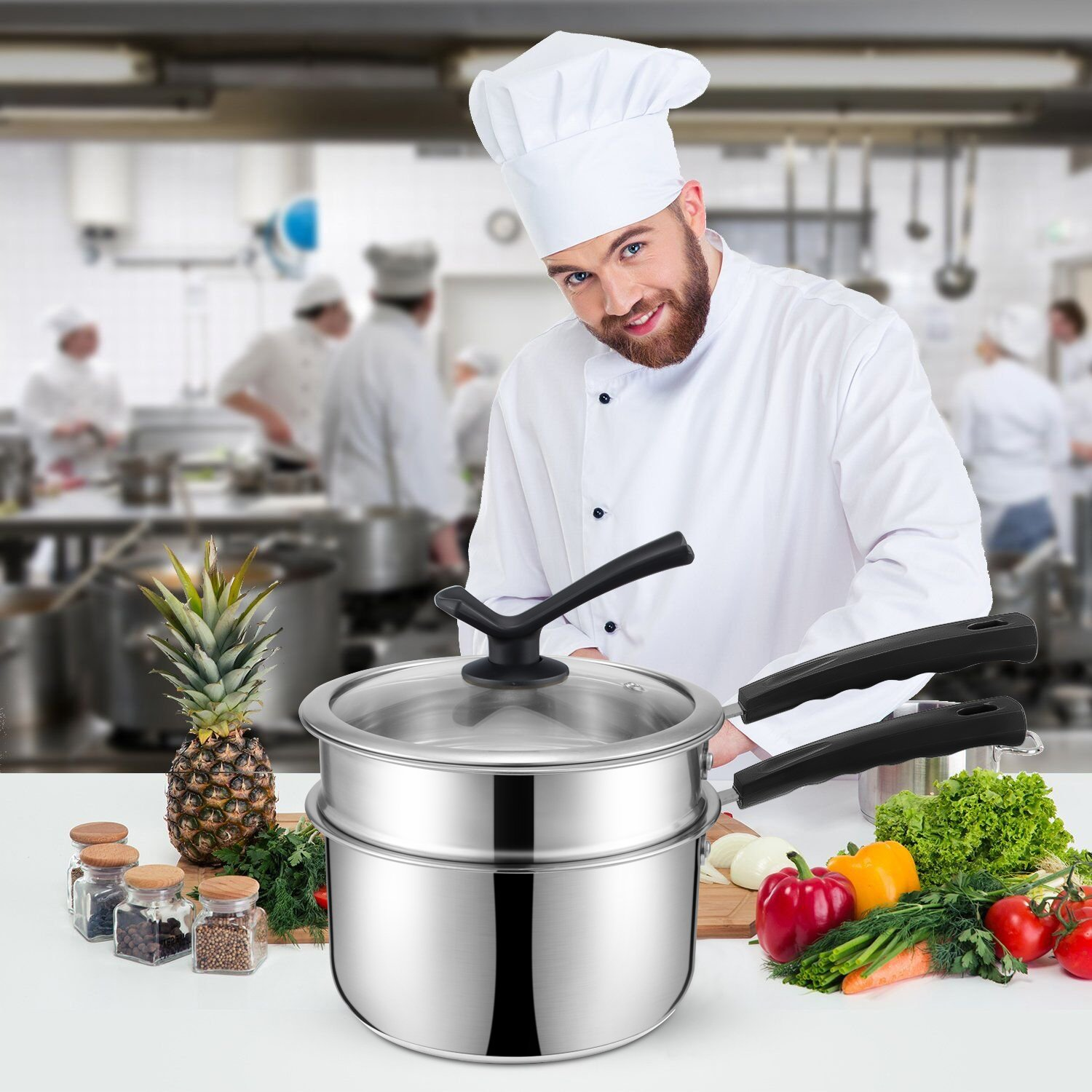 Double Boiler&Classic Stainless Steel Non-Stick Saucepan,Melting Pot for Butter,Chocolate,Cheese,Caramel and Bonus with Tempered Glass Lid by JKsmart (Image #7)