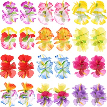 Amazoncom Hestya 24 Pieces Hibiscus Flower Hair Clips 12 Hawaiian