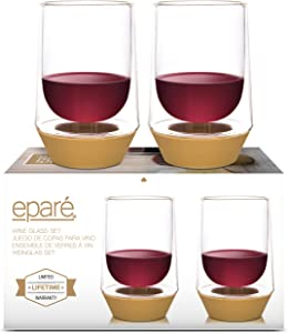 Eparé Wine Glasses - 10oz Stemless Cup - Set of 2 Tumblers - Spill Preventing Glassware - Thick Silicone Base