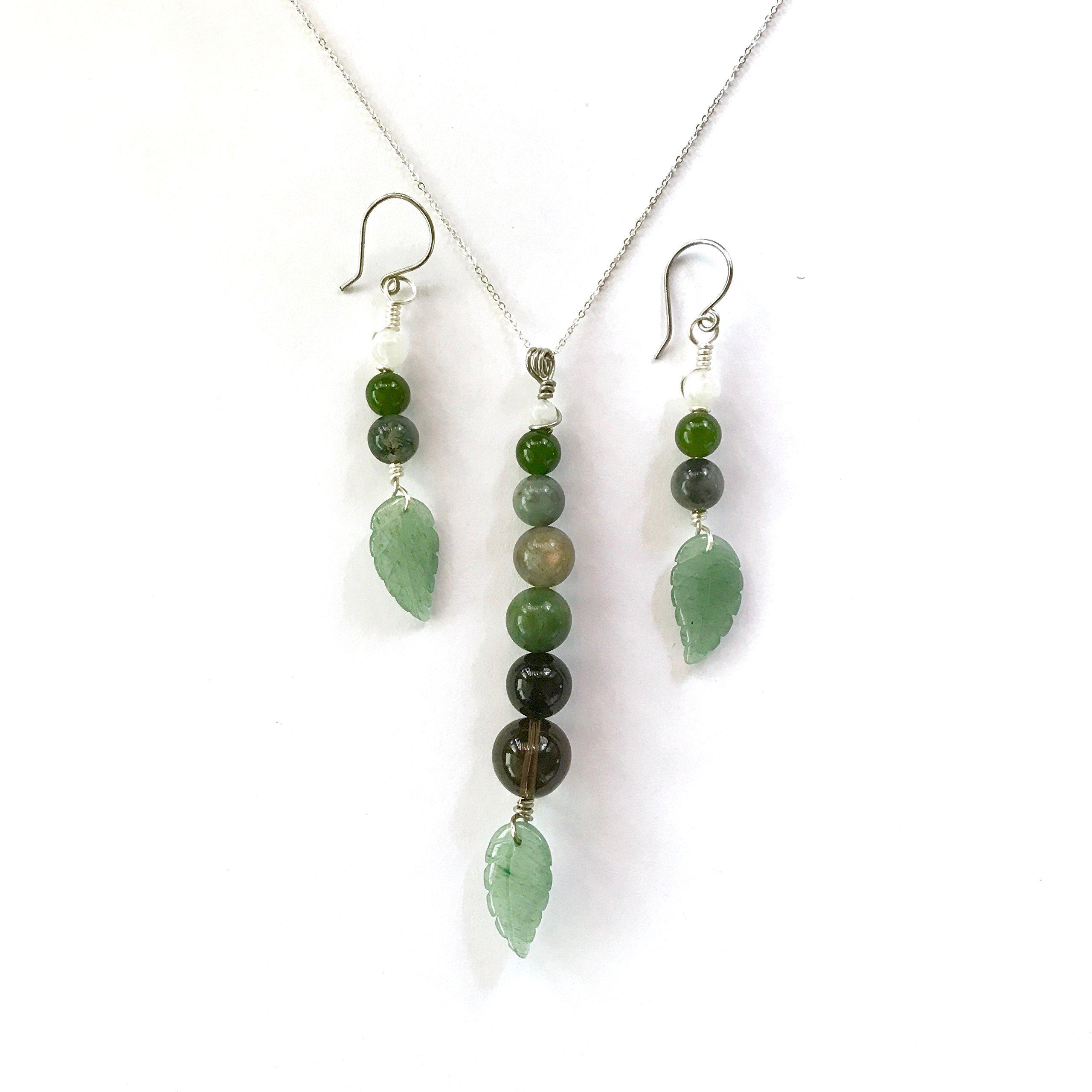 Aventurine Leaf Gemstone Drop Pendant Necklace & Earring Set