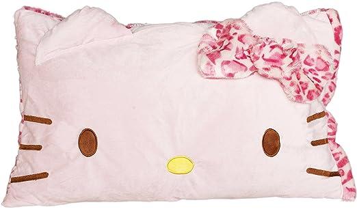 Hello Kitty cara leopardo suave funda de almohada: Amazon.es ...