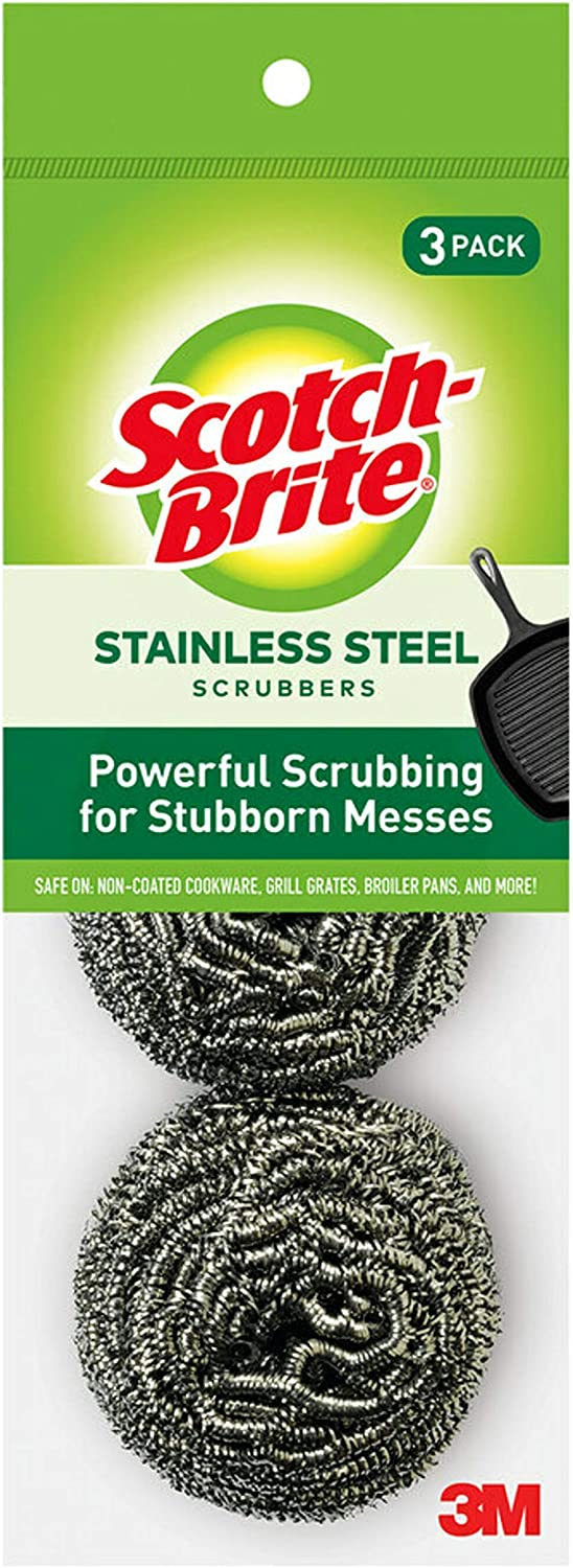 3 Scrubbers 1 Powerful Scrubbing for Stubborn Messes Ideal for Cast Iron Pans Scotch-Brite Stainless Steel Scrubbers