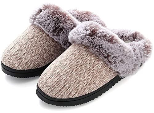 Indoor /& Outdoor Harrms Womens Furry House Slippers Knitted Memory Foam Anti-Skid Soft Slip On House Shoes w//Faux Fur Collar