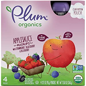 Plum Organics Mashups, Organic Kids Applesauce, Strawberry Blackberry & Blueberry, 3.17 Ounce Pouch, 4 Count