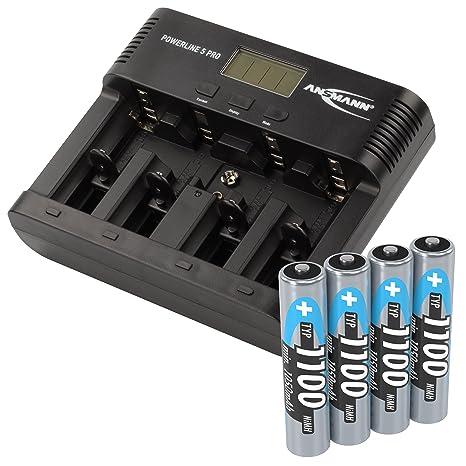 Ansmann - Cargador para 4 pilas AA/AAA con USB