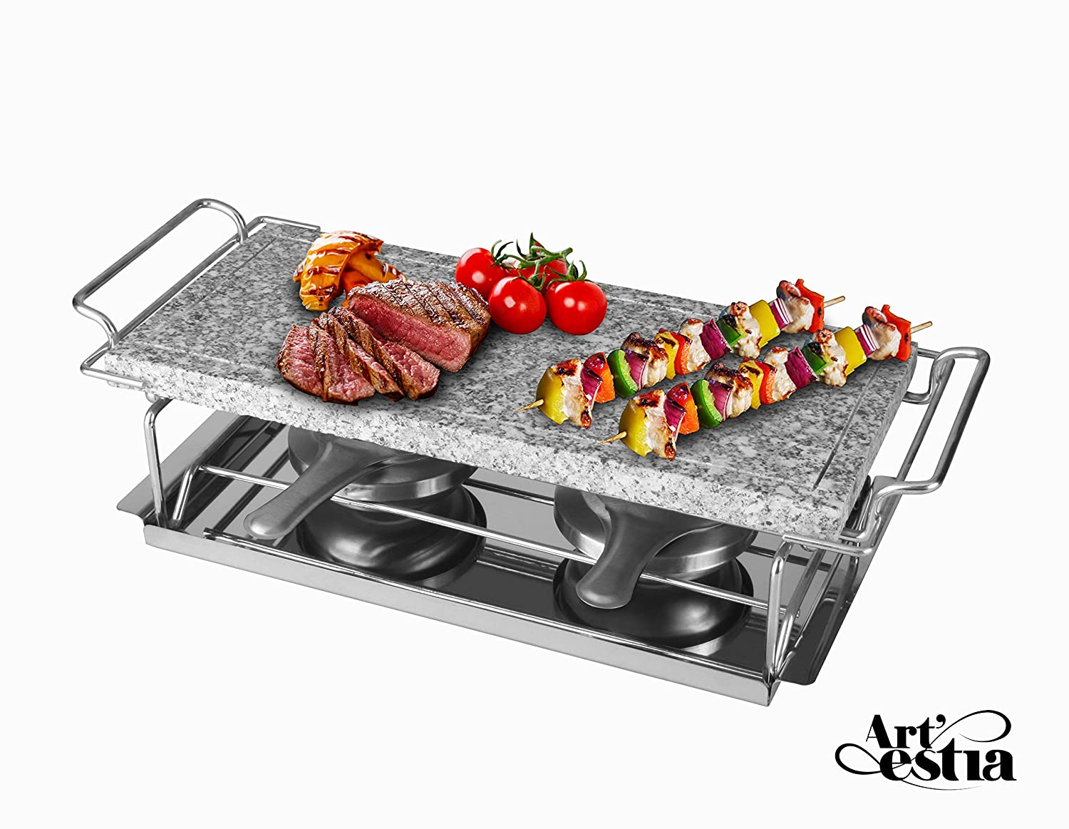 Artestia Sizzling Hot Cooking Stone Griller with Dual Rechauds AR-83004