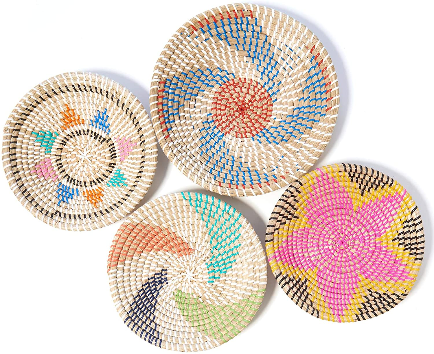 Woven Baskets - Perfect for Hanging Wall Decor or Storage - Set of 4 - Create Your Basket Wall Art Gallery Wall - Handmade in Natural Seagrass - Boho, Rustic, Traditional