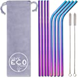 Love ECO Stainless Steel Straws– Beautiful Rainbow Colour ECO FRIENDLY Metal Straws For The Eco Conscious – With 2 Cleaning Brushes – Reusable Straws For Everyday Use - Eco Gifts