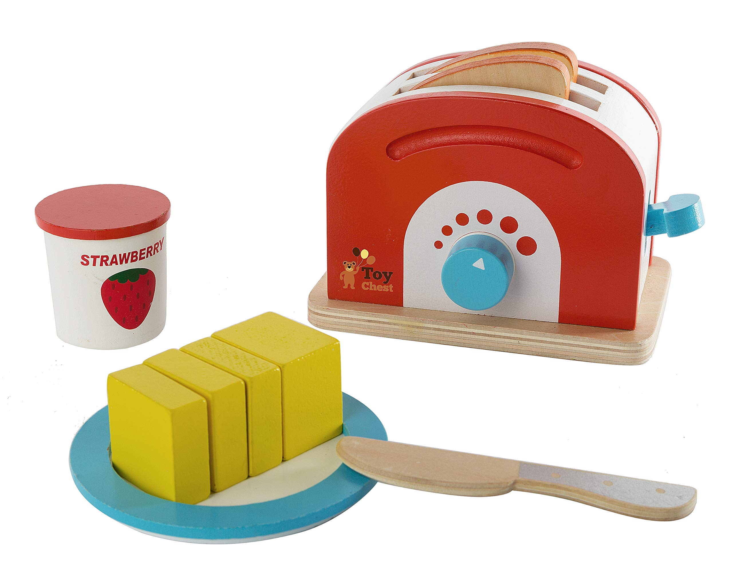 Wooden Toaster Set Cute Durable Colorful Educational Creative Toast Bread Pretend Play Kitchen 10 Piece Play Set for Kids Children Toddlers by Toy Chest Nyc