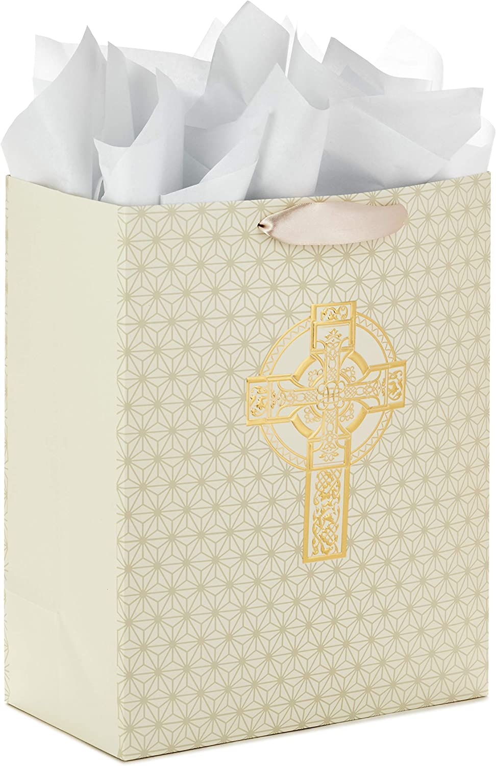 "Hallmark 13"" Large Gift Bag with Tissue Paper (Decorative Cross) for Christenings, First Communions, Weddings, Confirmations or Other Religious Occasions"