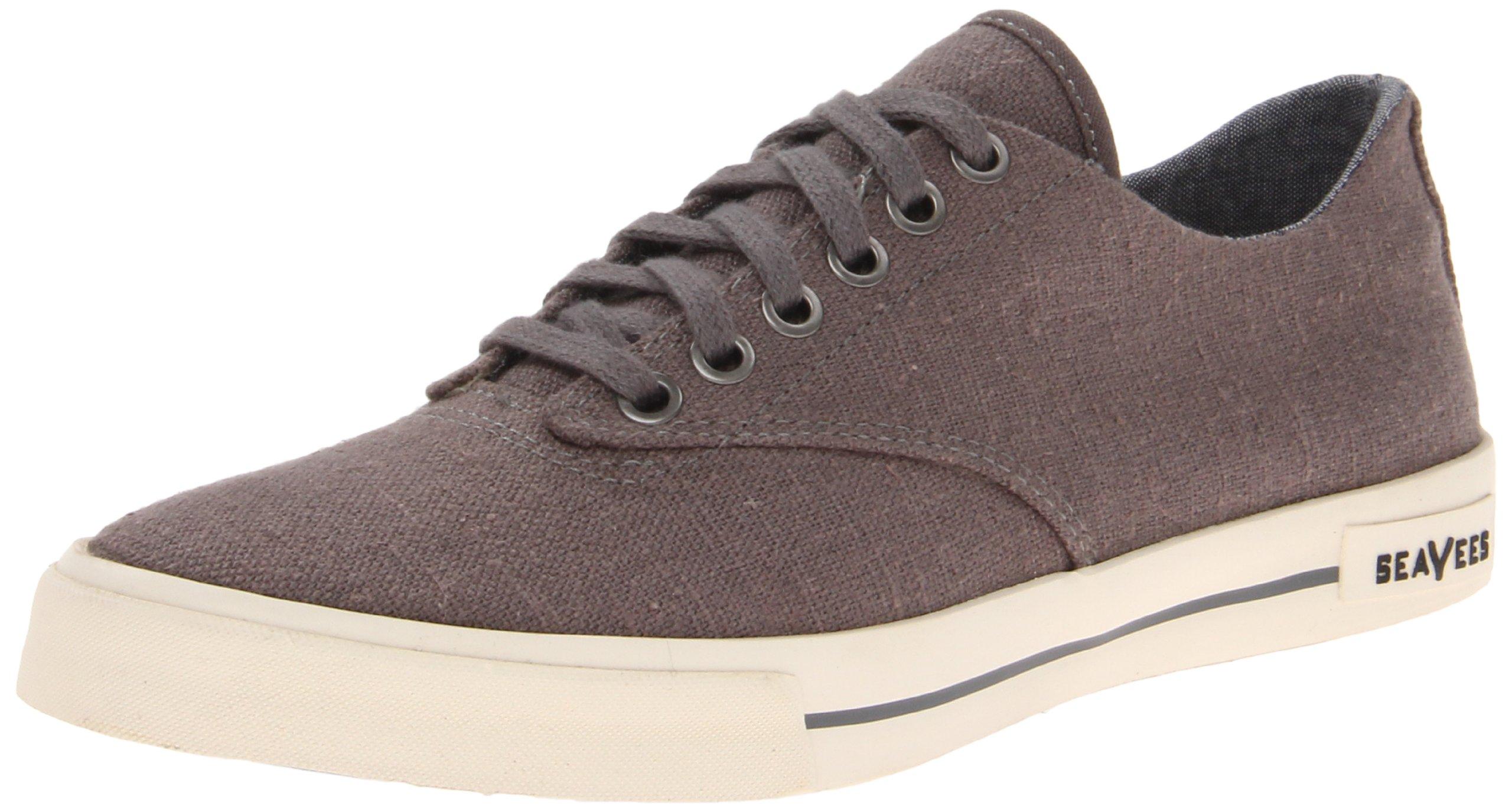 SeaVees Men's 08/63 Hermosa Plimsoll Core Tennis Shoe,Tin Grey Vintage Wash Linen,12 M US