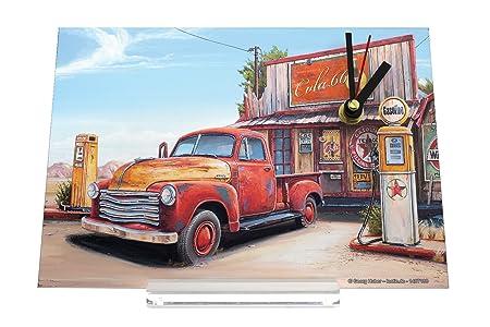 Desk Clock Garage G Huber Pick Up Petrol Station Gas Stations