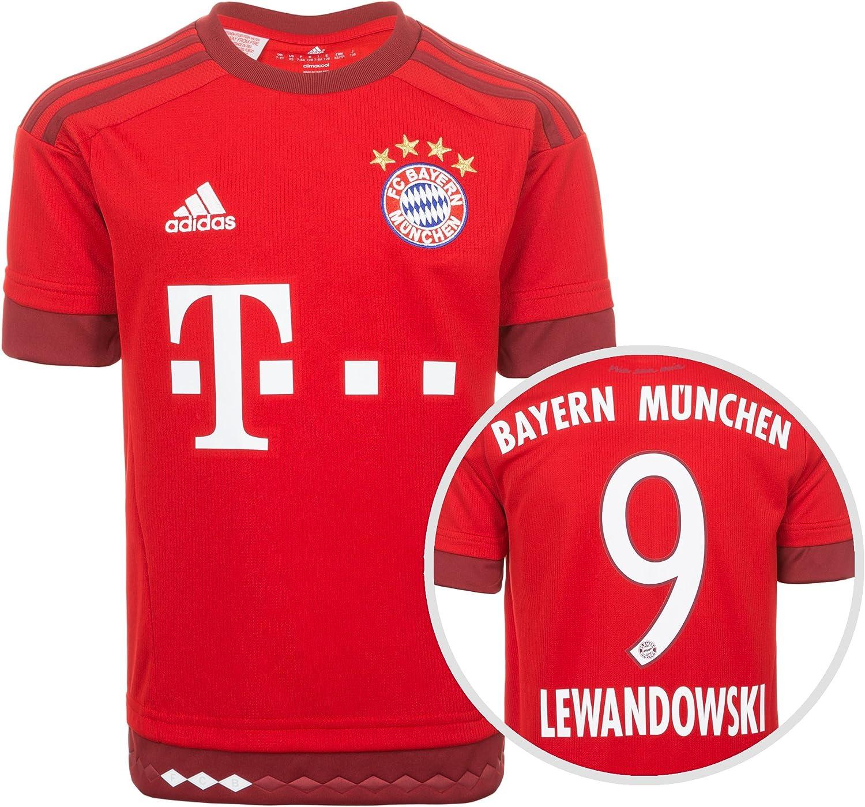Adidas FC Bayern Múnich Camiseta Home Lewandowski 2015/2016 Niños, Todo el año, Color - Rojo/Blanco, tamaño 12 años (152 cm): Amazon.es: Deportes y aire libre