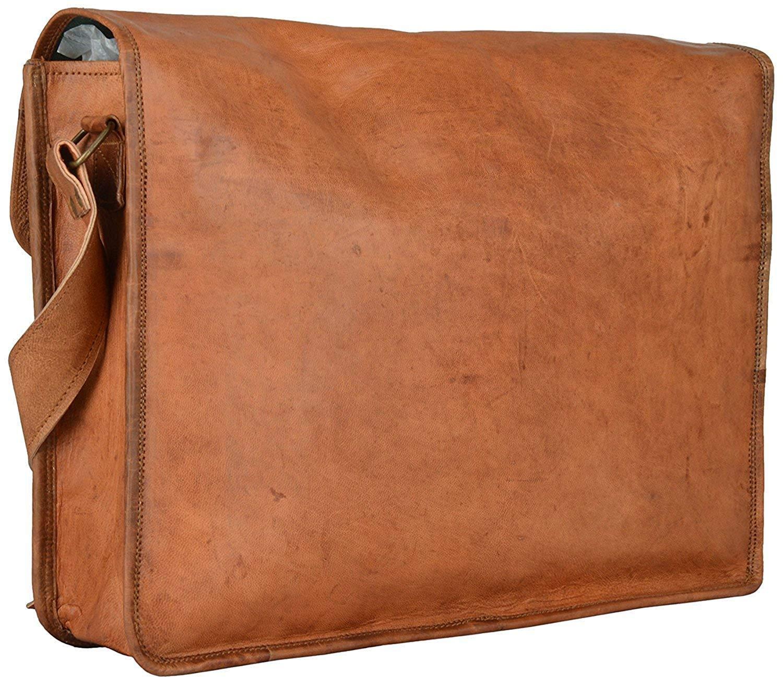 Art On Leather 15 Pure Genuine Leather Handmade Messenger Travel Shoulder Laptop Standard Brown