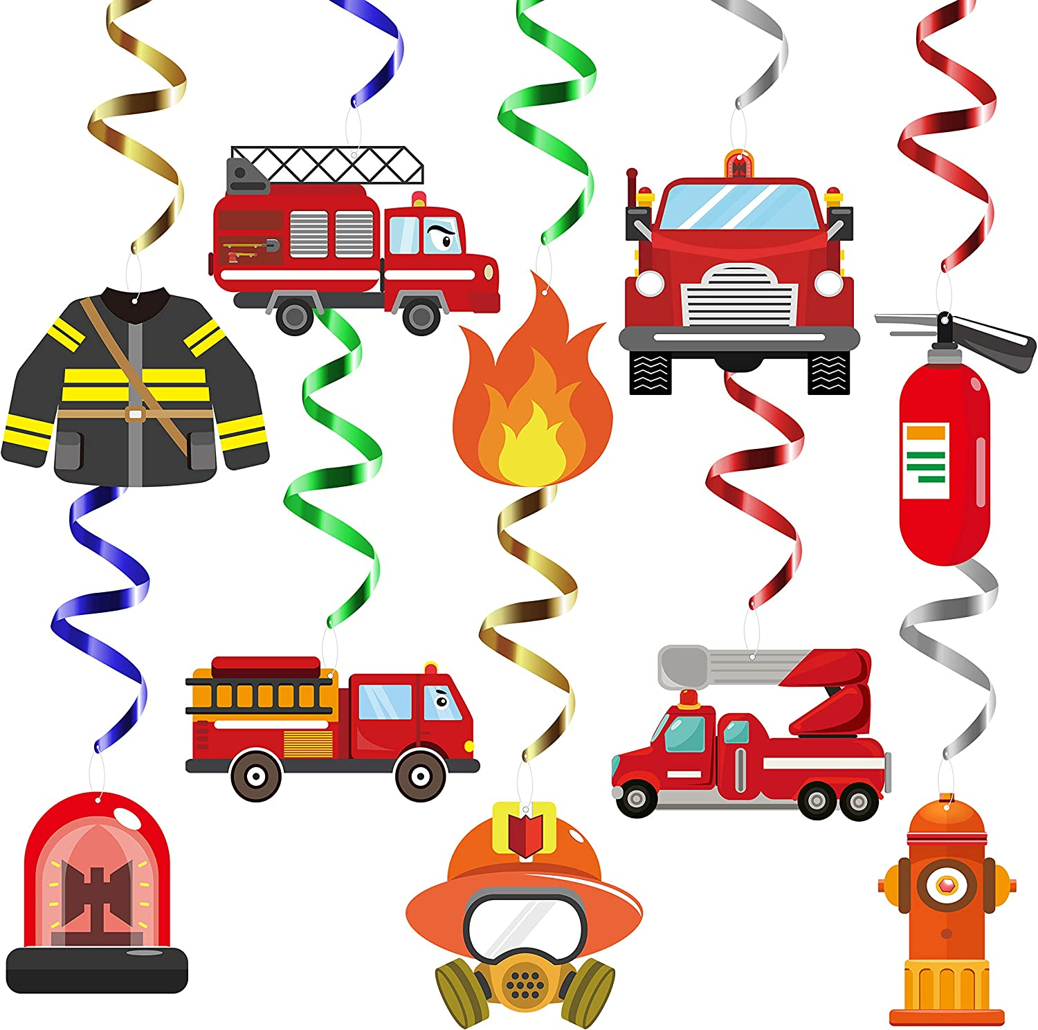 MALLMALL6 30Pcs Fire Truck Swirls Decorations Fireman Hanging Whirl Streamers Party Supplies Firetruck Fire Hat Home Decorations Fire Engine Ceiling Spiral Room Decor for Kids Fire Theme Birthday