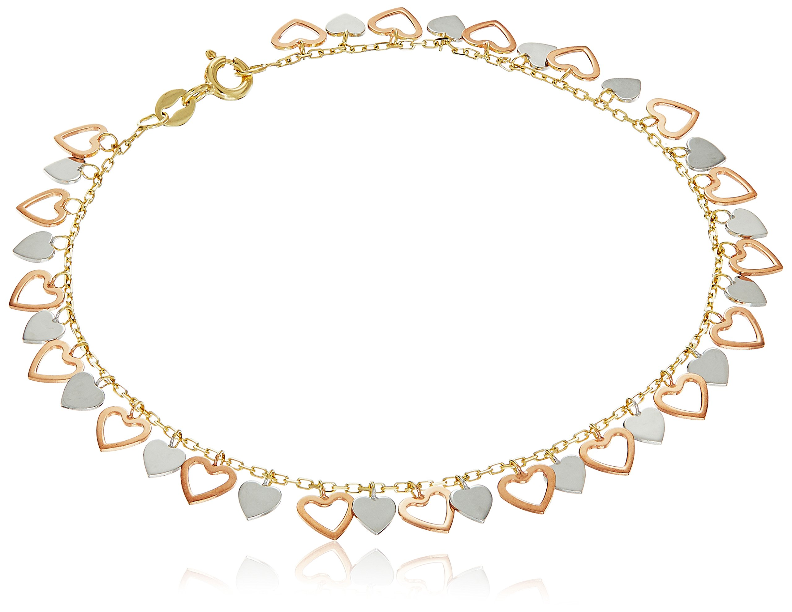 10k White, Yellow and Rose Gold Hearts Charm Bracelet, 7.5''