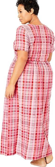 df514b61303 Only Necessities Women s Plus Size Long Seersucker Lounger - Bright Aqua  Plaid