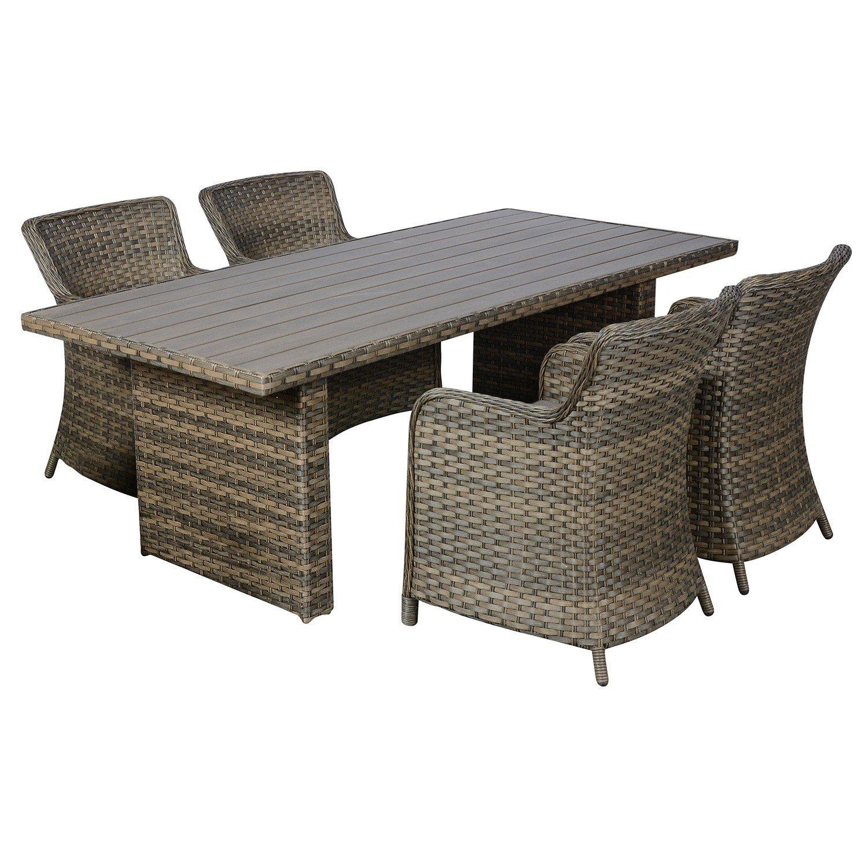 Poly Rattan Gartengarnitur Sitzgruppe Gartenmöbel Terrassenmöbel Set    Tisch, 210x95cm, Polywood