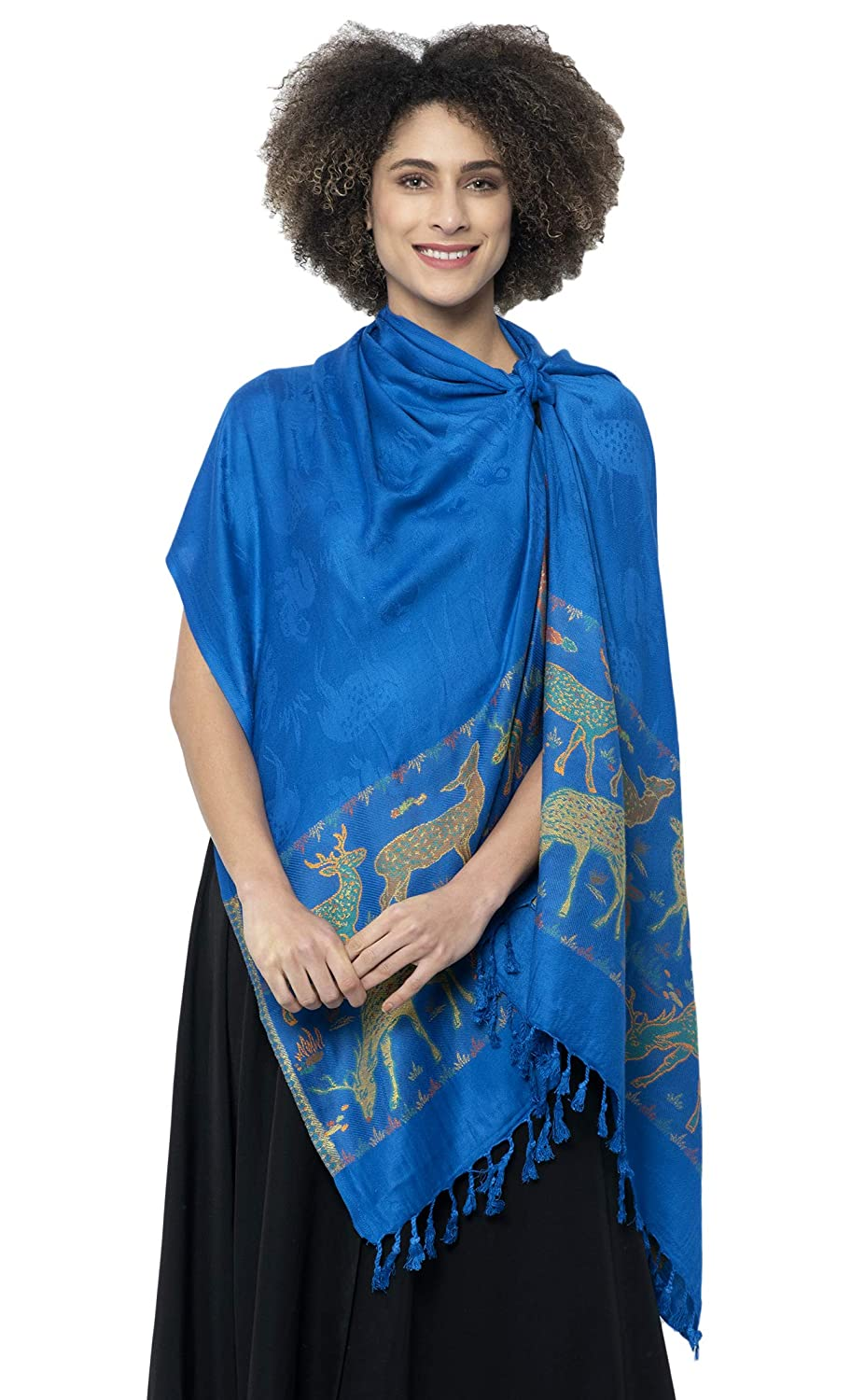 Weavers Villa Women's Soft Viscose Shawls (Blue, Medium)