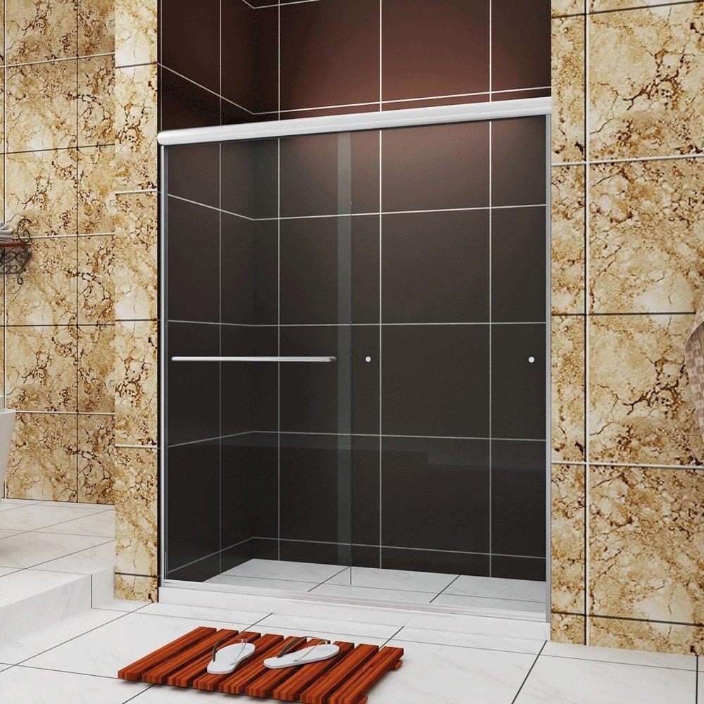 SUNNY SHOWER B020 Frameless Bypass 2 Way Sliding Shower Door Clear Glass Brushed Nickel Finish, 60'' L x 72'' H