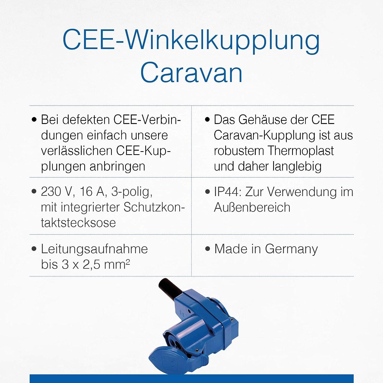 Made in Germany IP44 Blau I 60474 Schwabe CEE-Winkelkupplung Caravan Geeignet f/ür Au/ßenbereich 230 V // 16 A Camping-Kupplung mit Schutzkontaktsteckdose F/ür Wohnwagen und Wohnmobile as