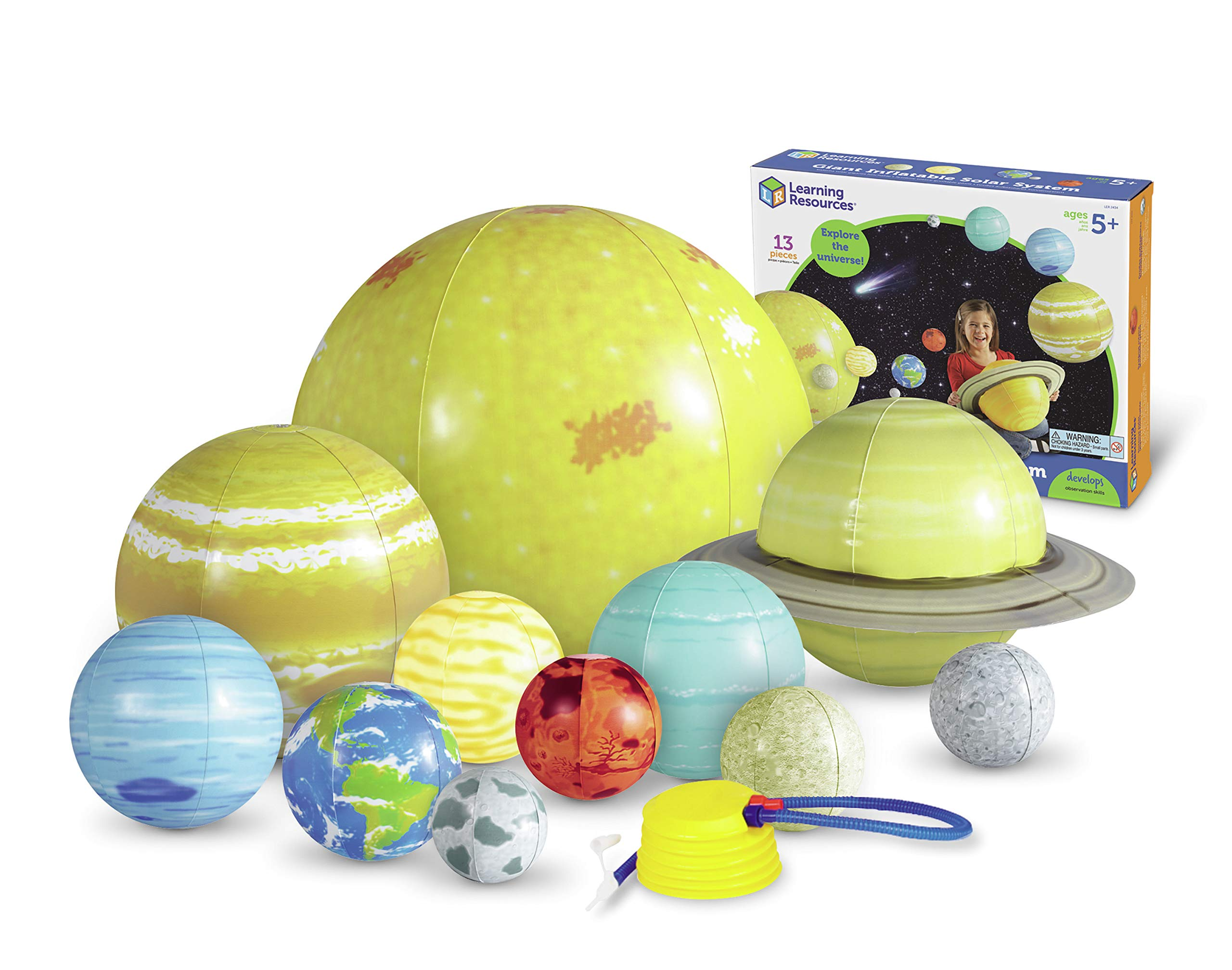 Learning Resources Giant Inflatable Solar System, 12 Pieces, 8 Planets, Grades K+/Ages 5+ by Learning Resources