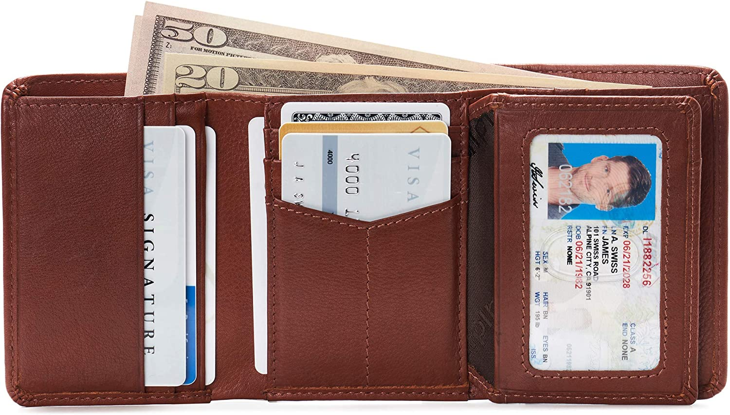 New Trifold Leather Man's wallet 9 credit card spaces 2 billfold change purse bn