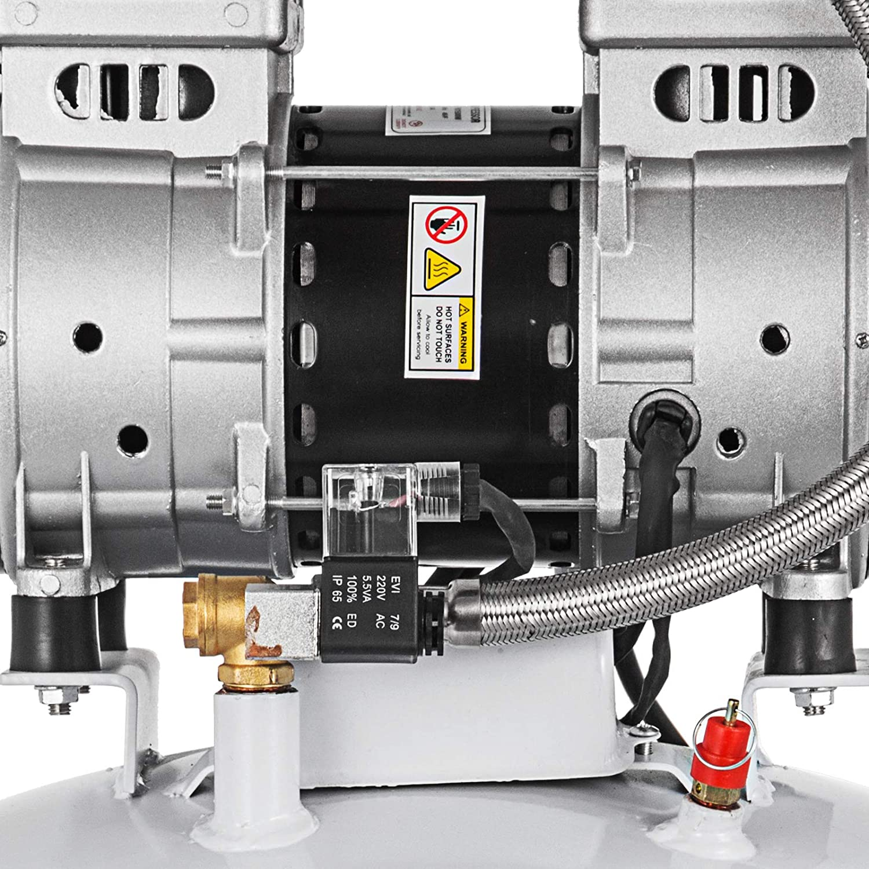 Olibelle Compresseur dAir sans Huile Ultra Silencieux de 5.5 gallons Compresseur dAir Silencieux de R/éservoir de 25L Compresseur sans Huile de 550W /à Faible Bruit 25L