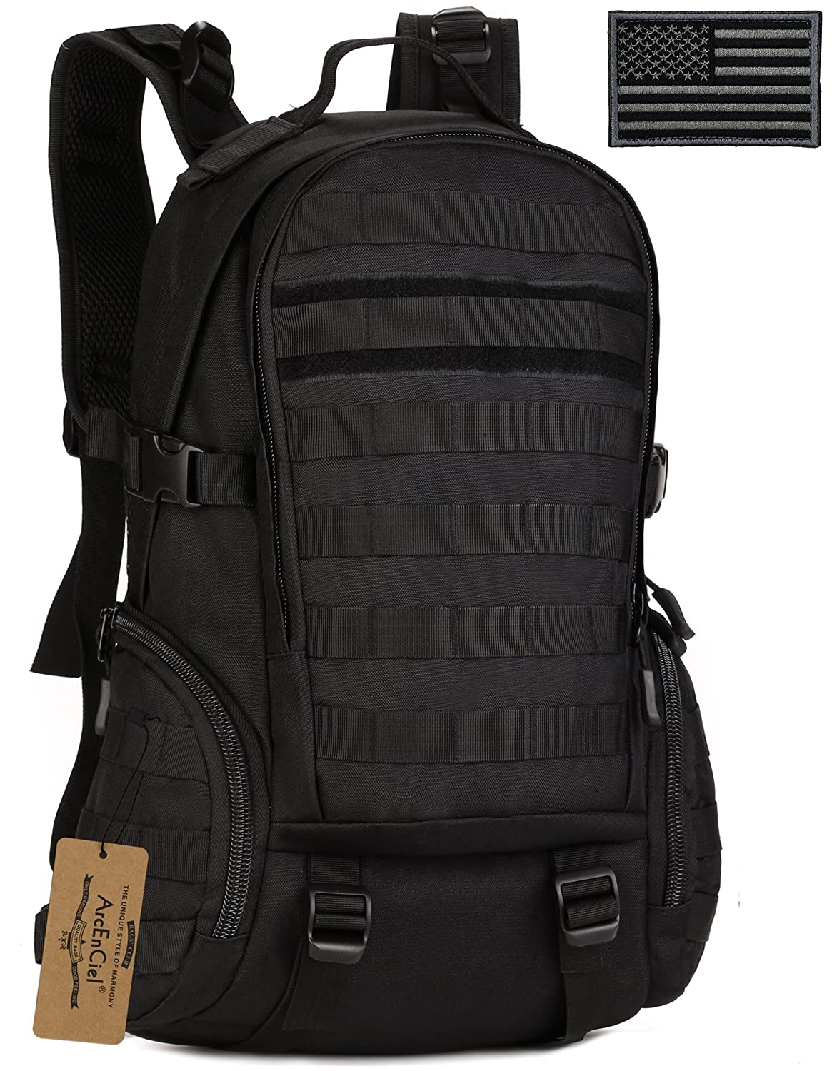 ArcEnCiel Tactical Backpack Military Army Day Assault Pack Molle Bag with Patch - Rain Cover Included
