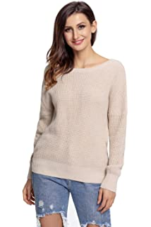 KCatsy Womens Sweater Tops Long Sleeve Crew Neck Ribbed Crisscross Backless Solid  Casual Sexy Loose Jumper… f89911b0a