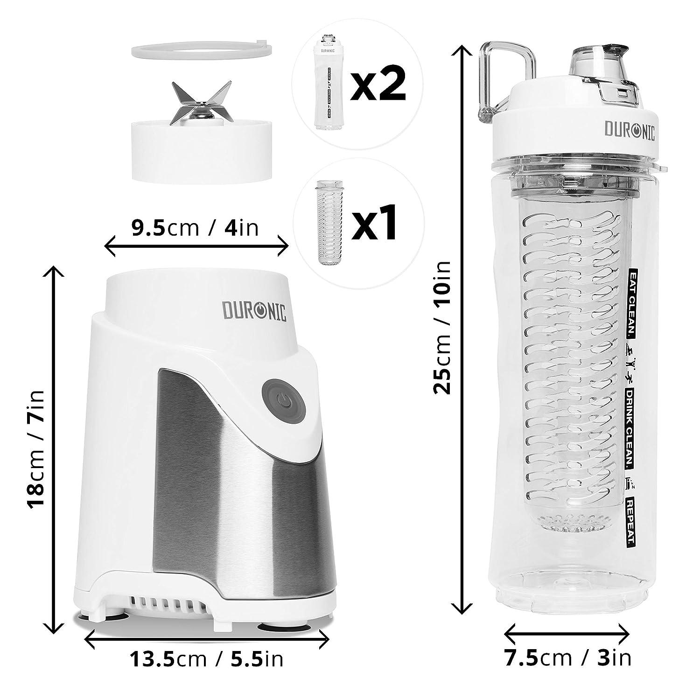 Duronic BL505 Reacondicionado Batidora Smoothie Individual de 500W con 2 Botellas Reutilizables de 600 ml libres de BPA e Infusor Incluido