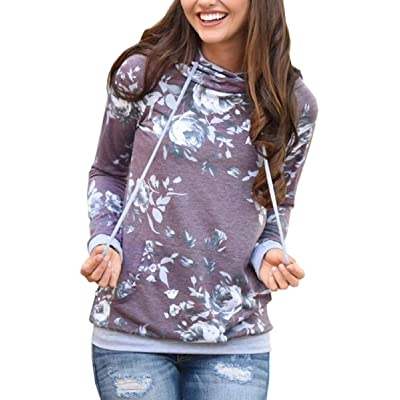 Angashion Women Hoodies-Tops- Floral Printed Long Sleeve Pocket Drawstring Sweatshirt with Pocket at Women's Clothing store