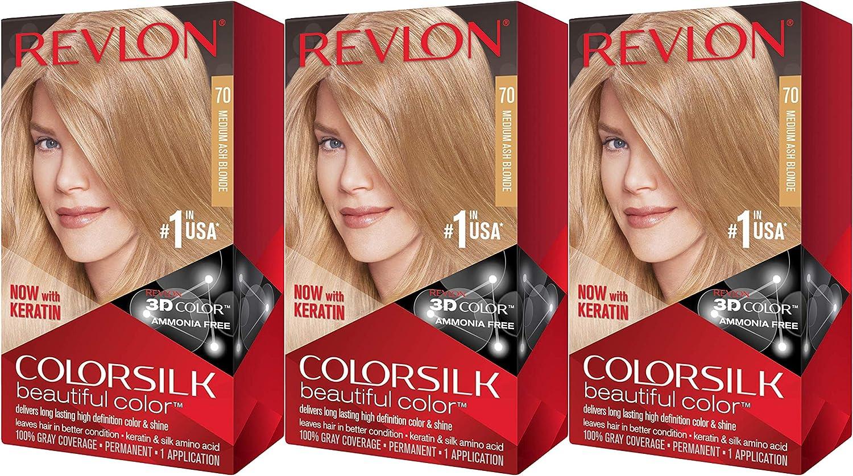 Revlon ColorSilk Hair Color, 70 Medium Ash Blonde (paquete de ...