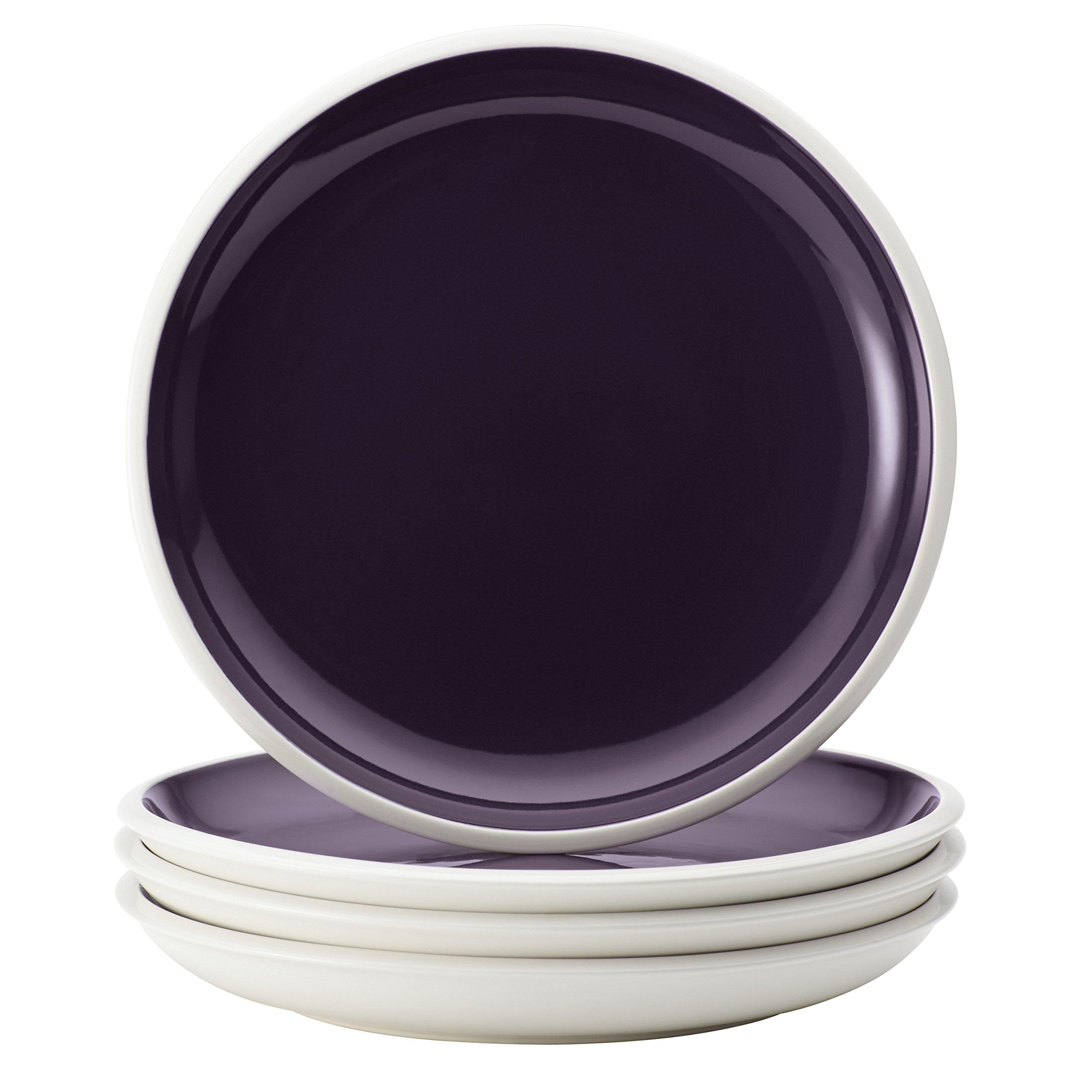 Rachael Ray 58721 Dinnerware Rise Stoneware Salad Plate Set, 4 Piece, Purple