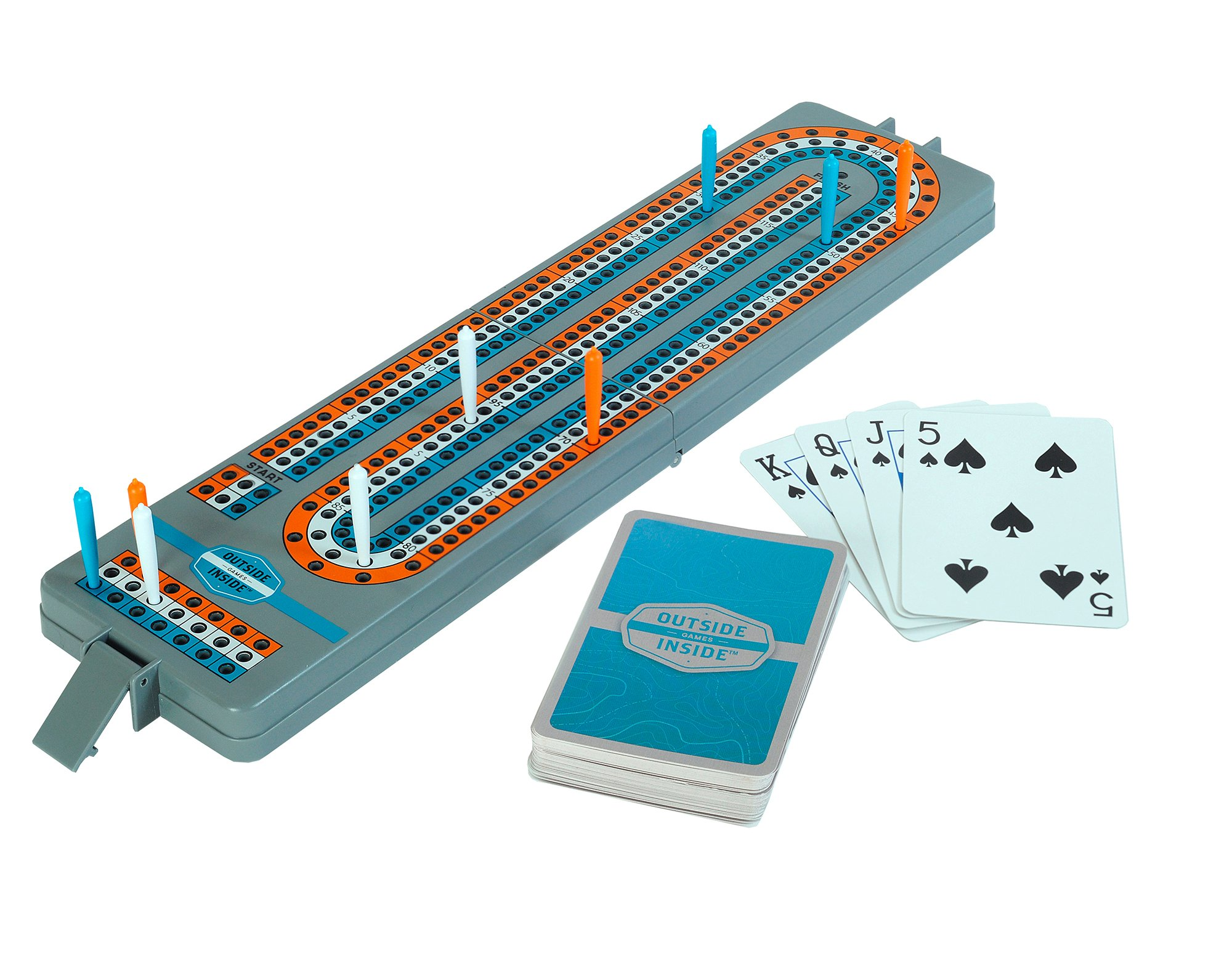 GSI Outdoors Travel Cribbage Board Outside Inside (9 Piece), Gray, 12.75'' by 3.15'' by .75'' (Open)