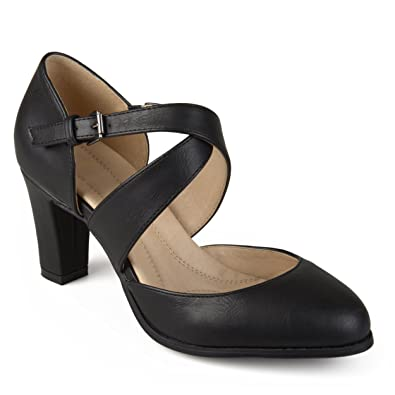 8e416c0fd7dd Journee Collection Womens Comfort Sole Cross Strap Pumps Black