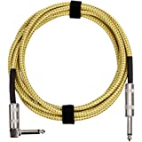 AmazonBasics 1/4 Inch Tweed Cloth Jacket Right-Angle Instrument Cable - 20 Foot (Yellow & Brown)