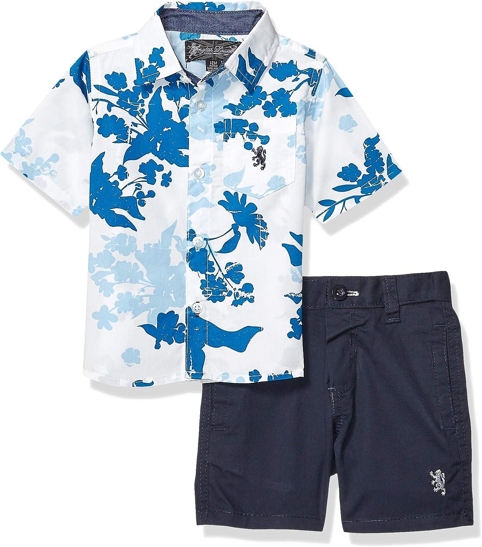 English Laundry Baby Boys Sleeve Striped Woven Shirt and Short Set