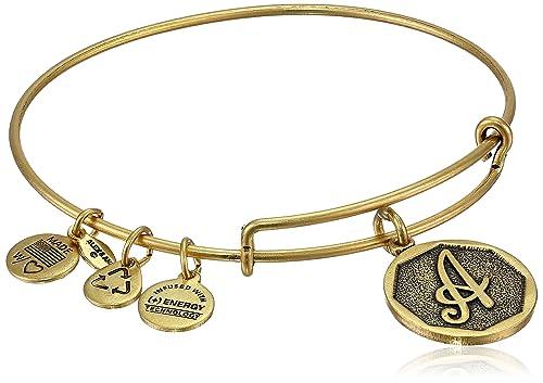 "9e8c6fd497d Alex and Ani Rafaelian Gold-Tone Initial ""A"" Expandable Wire Bangle  Bracelet"