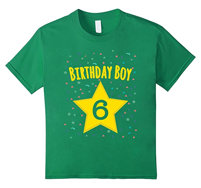 Kids 6th Sixth 6 Six Years Old Happy Birthday Boy Star T Shirts 4 Kelly
