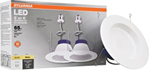 Sylvania 74401 RT Led Bulb 10W (65W Replacement) 5 inch Or 6 inch Downlight Recessed Kit - 3000K Bright White - 2 Pack,