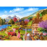 HUADADA Jigsaw Puzzle for Adults 1000 Piece Puzzles for Teenagers Kids Lakeside Cottage Large Jigsaw Puzzle Family Challengin