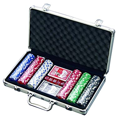 300 Chip Dice Style Poker Set In Aluminum Case (11.5 Gram Chips) , 2 decks of cards, 5 dice