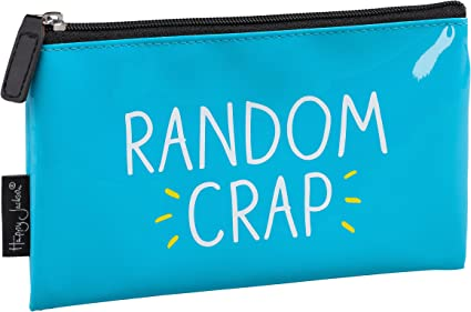 Estuche para lápices Happy Jackson con texto impreso en inglés «Random Crap», color azul: Amazon.es: Oficina y papelería